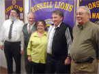 Thumbnail: New Russell Ontario Lions Jean Lauziere, Peter Romme, Diane Wolfenden, Ted Morrison, and Ken Beaman